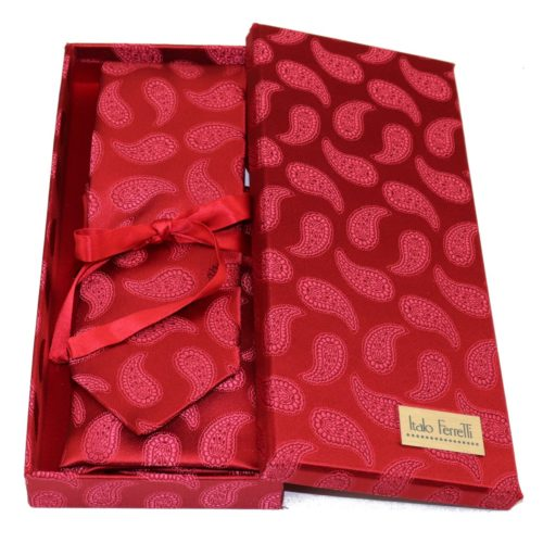 Red sartorial silk tie and pocket square set, matching silk box included 414531-02