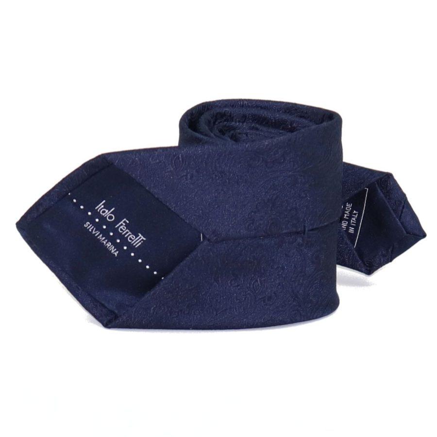 Sartorial deep blue woven silk necktie with elegant pattern 419660-07