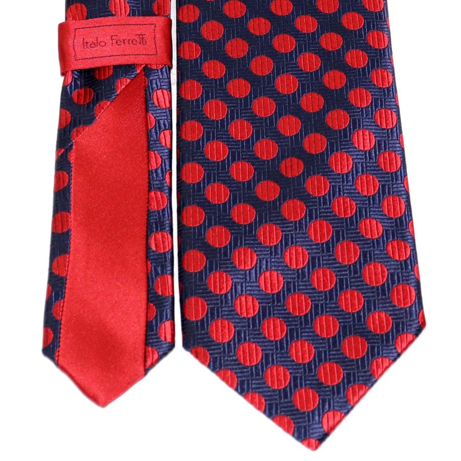 Sartorial red and blue woven silk necktie 419610-01