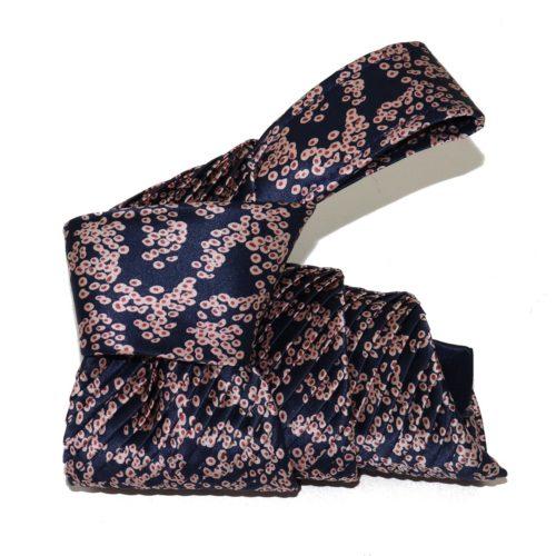 Sartorial pleated blue silk tie with stylized sakura flowers 919009-01