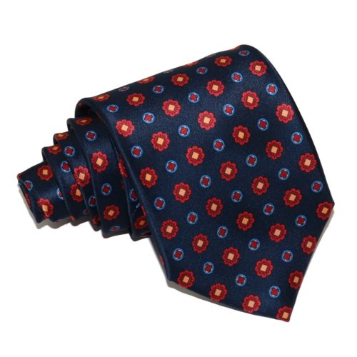 Sartorial sky blue silk necktie with red flowers 419381-01