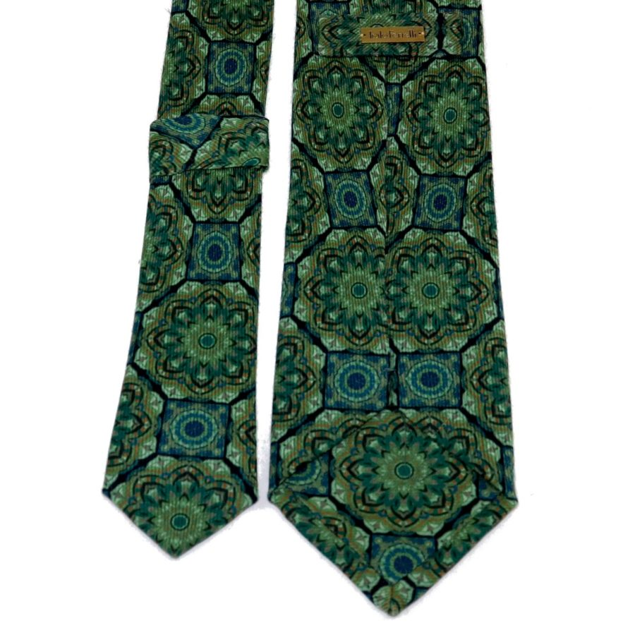 Tailored cashmere tie green mandala print Tailored cashmere tie green mandala print 919714-02