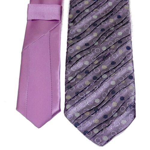 Sartorial pleated silk tie lilac polka dots 919010-001