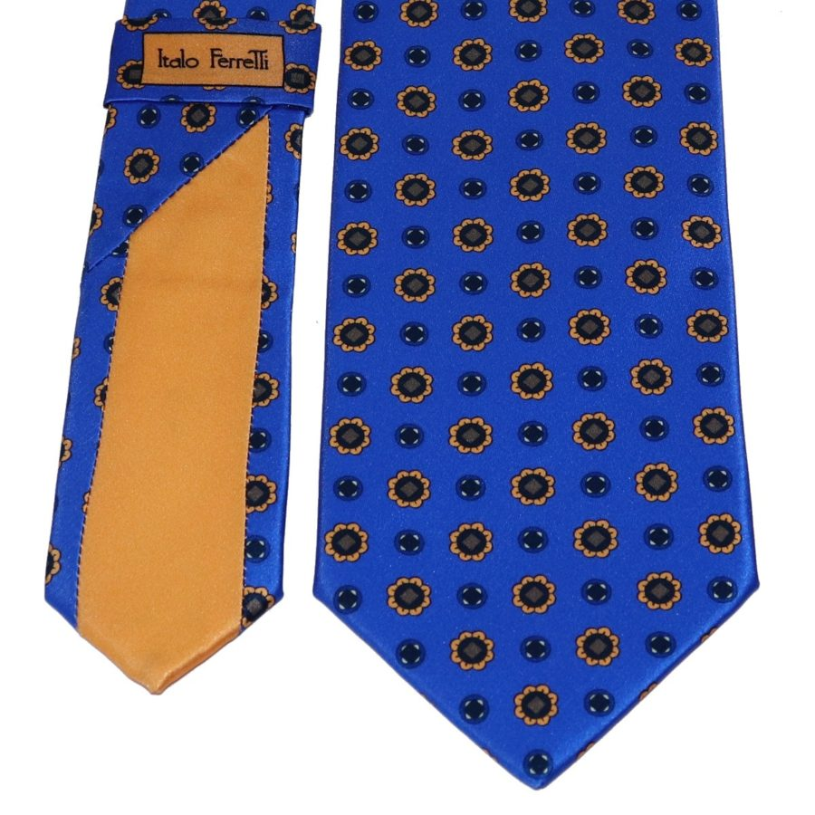Sartorial sky blue silk necktie with yellow flowers 419382-05