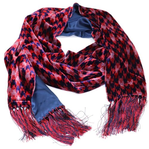 Double-sided burgundy and blue velvet and silk sartorial fringed scarf 419356-03 18006-X