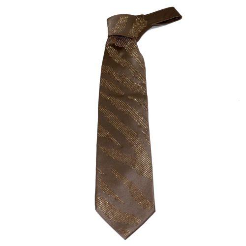 Beige silk sartorial tie with amber Swarovski crystals S039 T005