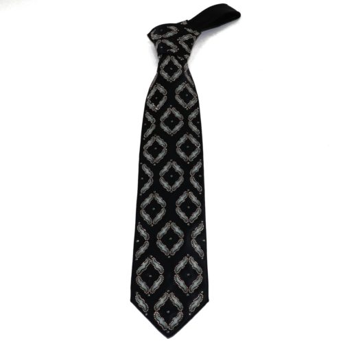 Black silk luxury tie with amber Swarovski crystals and glossy beads S060 T003