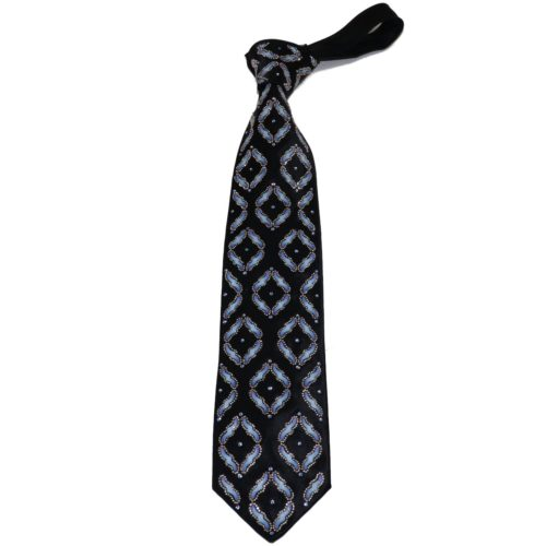 Black silk luxury tie with Swarovski crystals and glossy beads S060 T004