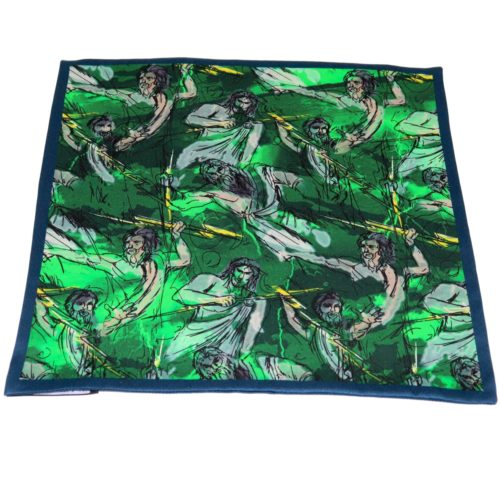 Reversible emerald green and Zeus theme silk pocket square 419369 + 419370 var. 7