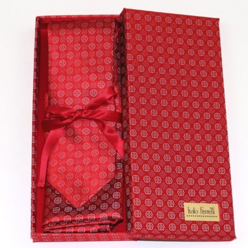 Red shades fantasy patterned sartorial silk tie and pocket square set, matching silk box included 414533-02