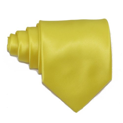 Tailored solid yellow silk tie 18004-2