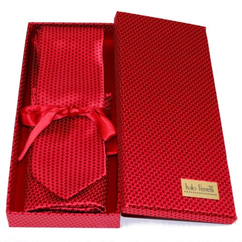 Red sartorial silk tie and pocket square set, matching silk box included 418121-02