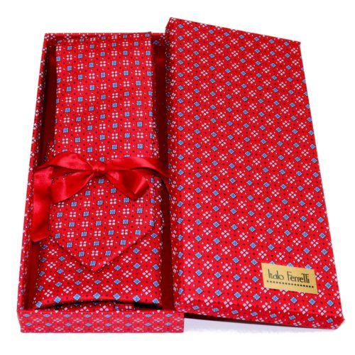 Red shades fantasy patterned sartorial silk tie and pocket square set, matching silk box included 418216-04
