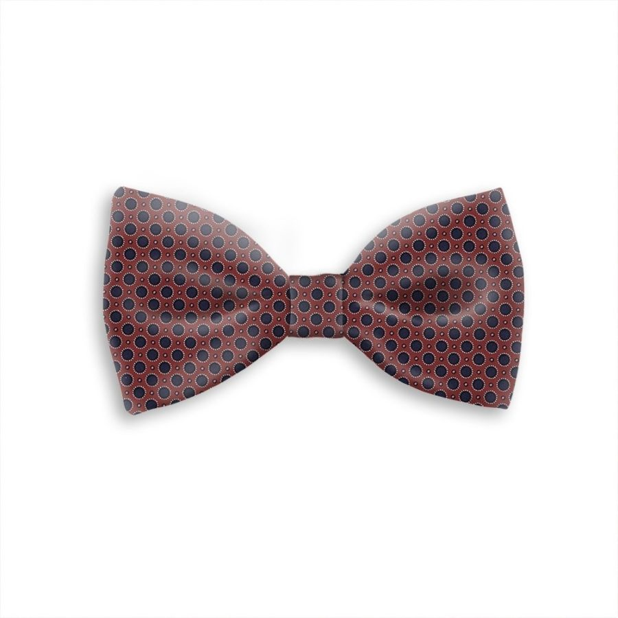Tailored handmade bow-tie burgundy with blue polka dots 419320-02