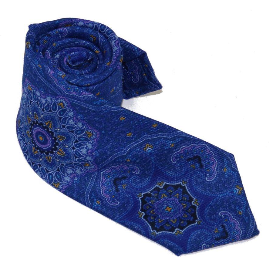 Tailored cashmere tie green and purple, mandala print 919700-01