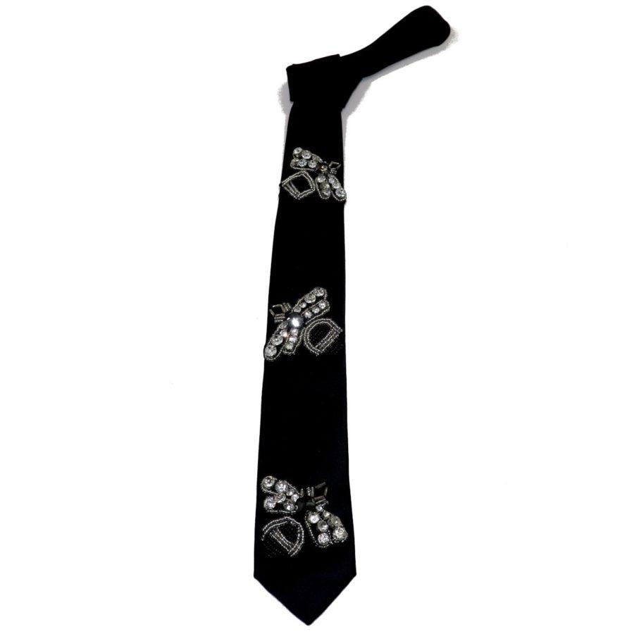 Blak silk sartorial tie with Rhinestones Bee S0XX BUG
