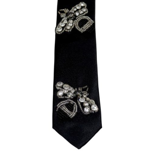 Blak silk sartorial tie with Rhinestones Bee S0XX BUG