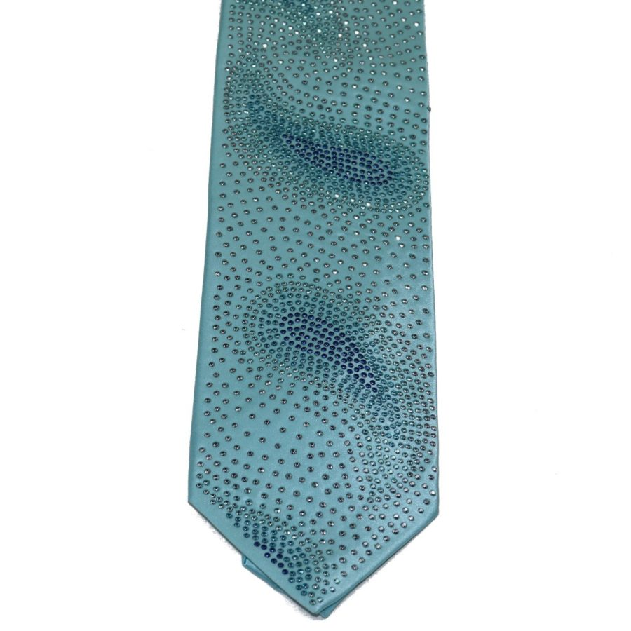 Light blue silk sartorial tie with white, blue and light blue Swarovski crystals S002