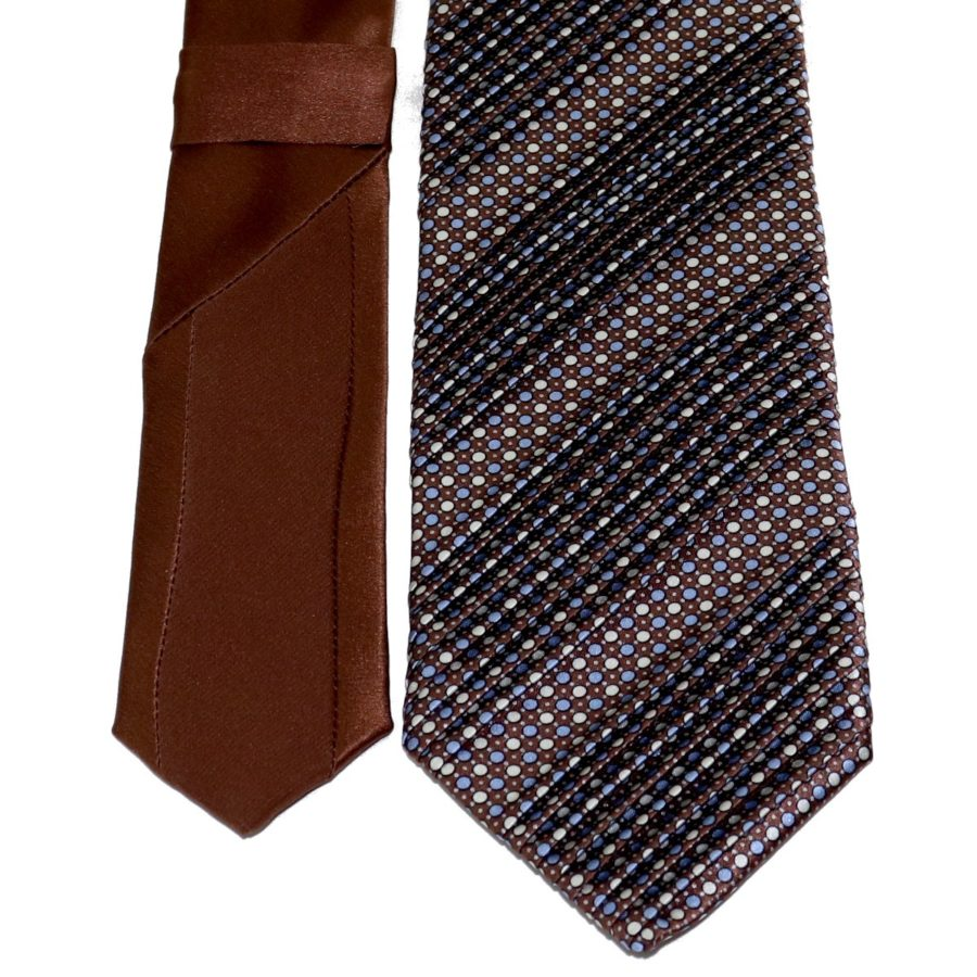 Sartorial pleated silk tie brown and blue polka dots 919012-001