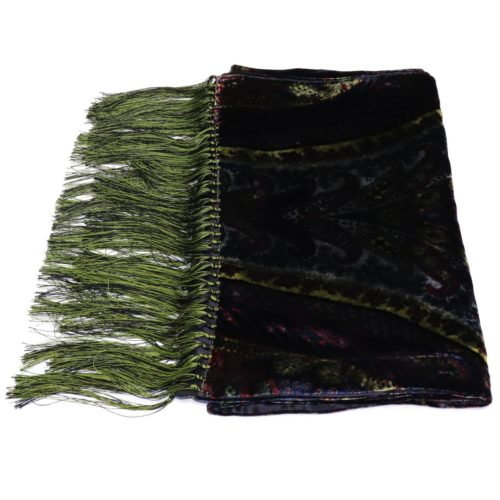 Double sided green velvet and silk scarf by Italo Ferretti 417218-01 18007-12