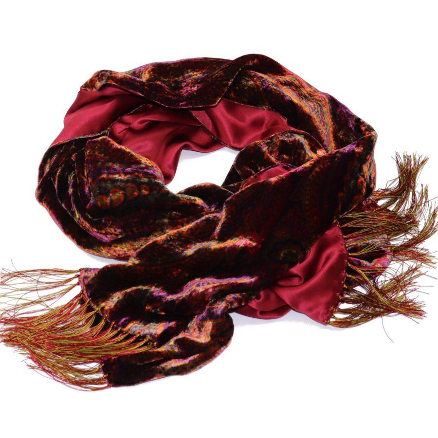 Double sided green velvet andDouble sided burgundy velvet and silk scarf 419358-01 18006-14