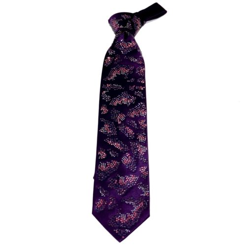 Purple silk sartorial tie with crystal, pink and purple Swarovski crystals S077