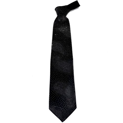 Black silk sartorial tie with white Swarovski crystals S002