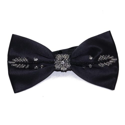 Black silk bow tie with Swarovski rhinestones 18007-12 Mod. D127
