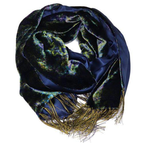 Double sided blue velvet and silk scarf 417219-02 18006-14