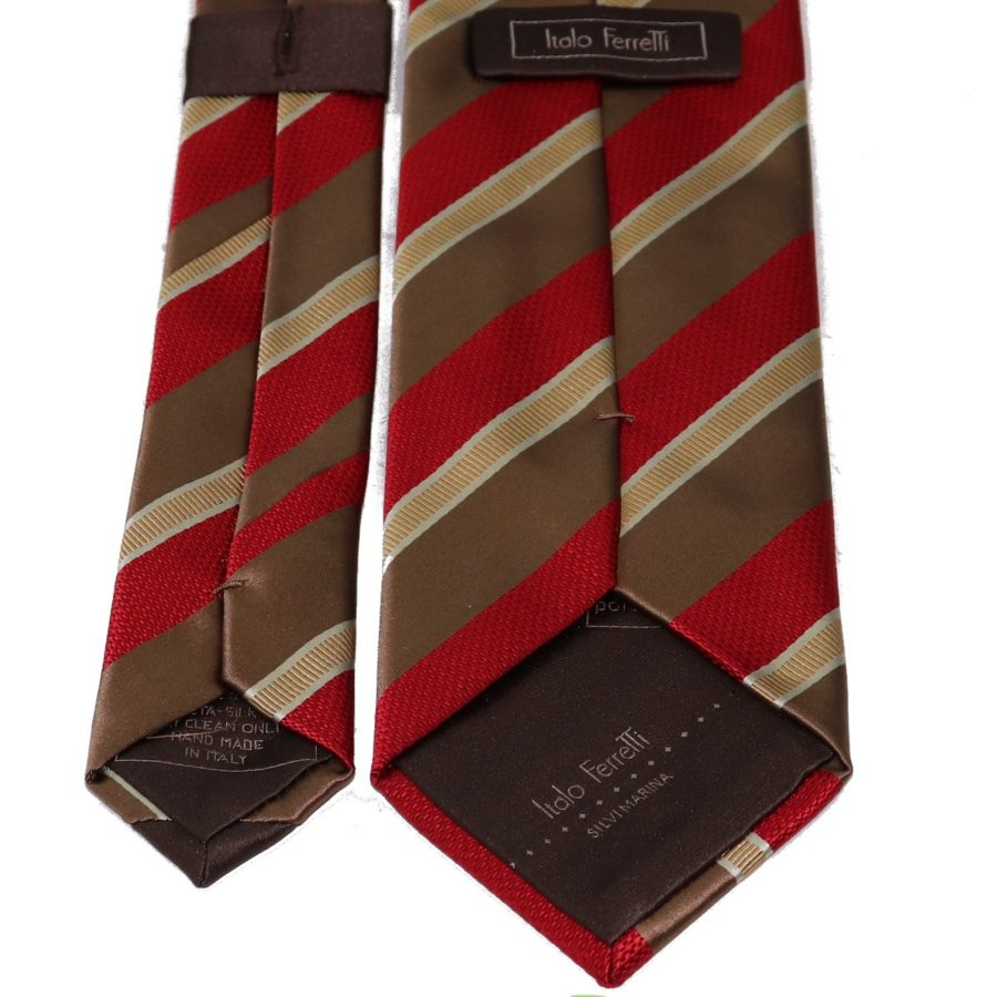 Sartorial woven silk tie, red and brown, regimental stripes 915004-01
