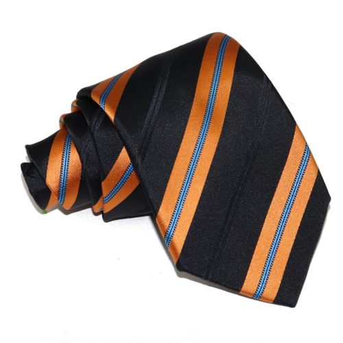 Sartorial woven silk tie, black and brass regimental stripes 915002-01