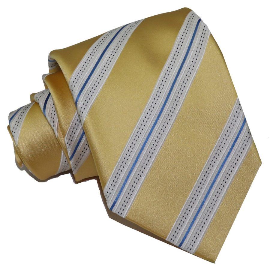Sartorial woven silk tie, black and brass regimental stripes 915002-01