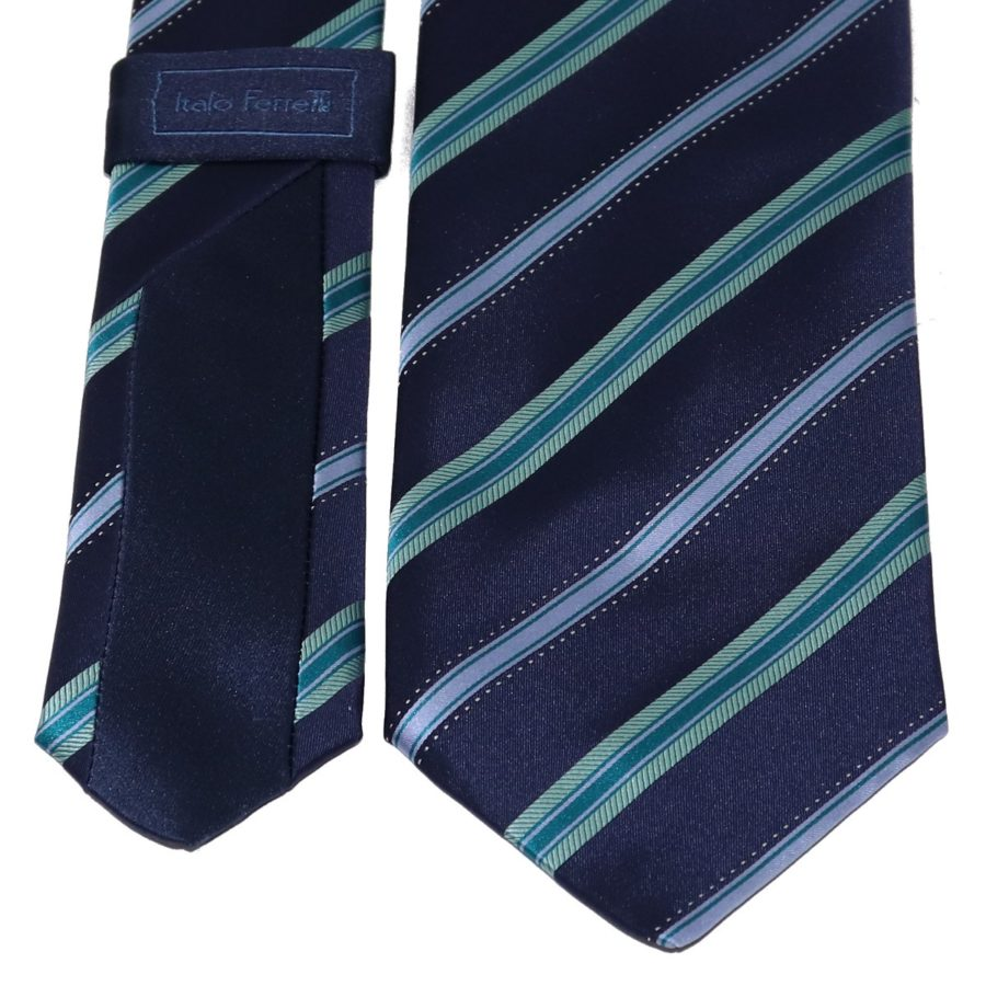 Sartorial woven silk tie, blue and green, regimental stripes 915002-01