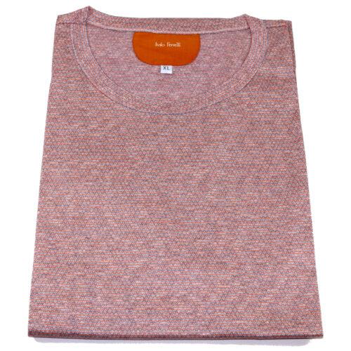 Salmon pink t-shirt in silk and cotton fabric, by Italo Ferretti